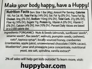 Huppybars ingredients
