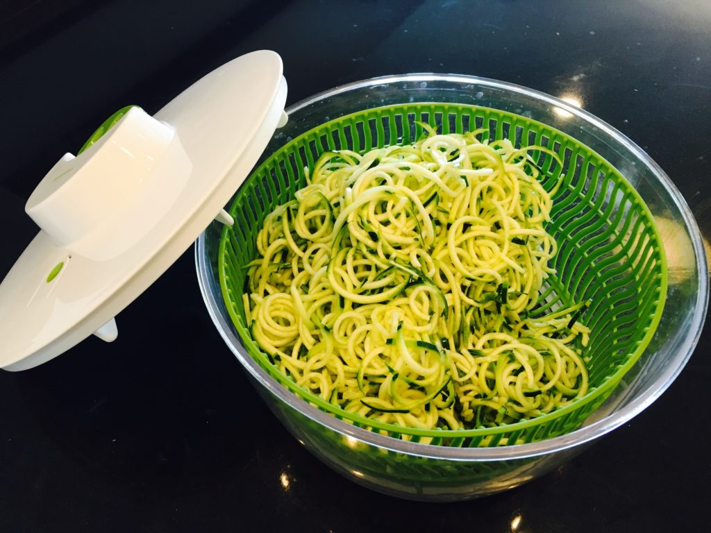 Zoodles in salad spinner
